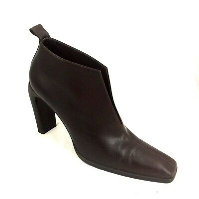 e4f3510abde GUCCI Brown Leather Slit Open Ankle Boots Booties 8 B Heeled Slip On 1040175