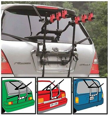 New 3 Bike Bicycle Carrier Car Cycle Rack - Rear Mount - Universal Fitting