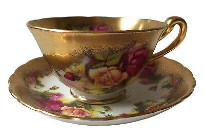 ROYAL CHELSEA England Bone China GOLDEN ROSE Tea Cup & Saucer Set Heavy Gold