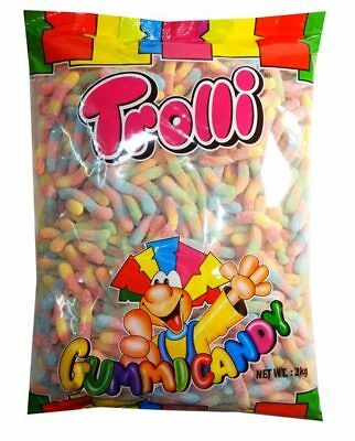 2kg TROLLI BRITECRAWLERS SOUR WORMS BULK LOLLIES CANDY BUFFET SWEETS PARTY