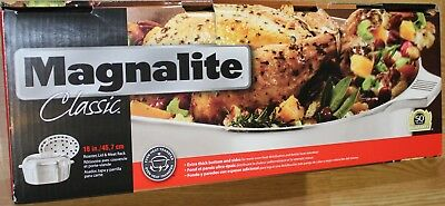 """MAGNALITE CLASSIC 15/"""" ROASTER WITH LID /& MEAT RACK 1040828"""