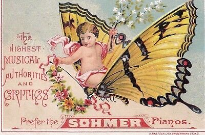 1800s ANTIQUE VICTORIAN TRADE CARD SOHMER PIANO & CO. FANTASY.*