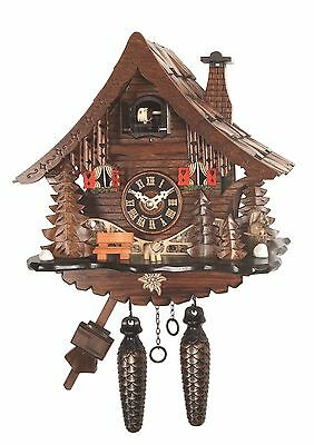 cuckoo clock black forest quarz germany quartz new battery operated wood