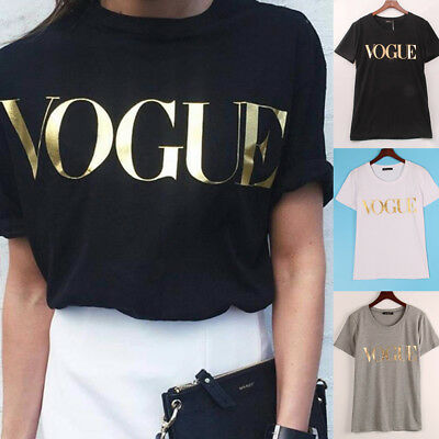 Fashion T-Shirt Women Girl VOGUE Printed T-shirt Casual Cotton Tops Tee Shirt