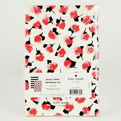 Kate Spade New York Black Stripe+Rose Notebook Set x2 Diary/Journal Live/Love It