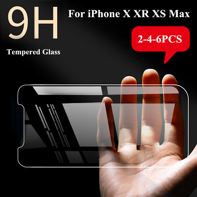 2-6PCS For iPhone X XR XS Max Screen Protectors Tempered Glass Thin Protection