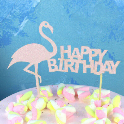 Flamingo Happy Birthday Cake Cup Toppers Decor Kids Party Supplies ZG
