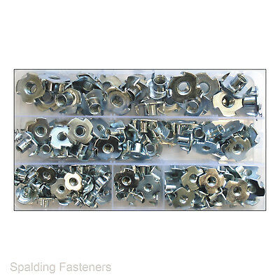 Assorted Threaded 4 Prong Zinc Tee Nuts Zinc Plated Steel T Nut M4 M5 M6 M8