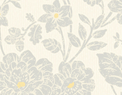 Floral Textured Wallpaper Yellow Grey Ivory Livingroom
