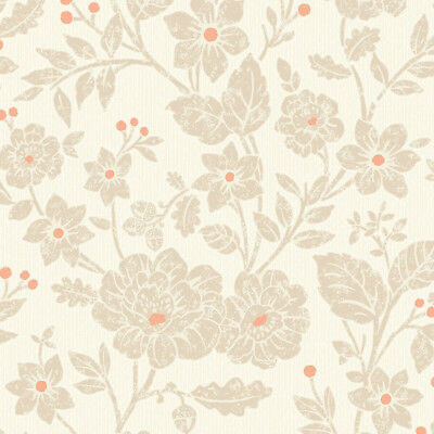Floral Textured Wallpaper Burnt Orange Beige Livingroom