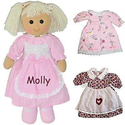 Personalised Rag Doll + 2 DRESSES Birthday Christmas Flower Girl New Baby Gift