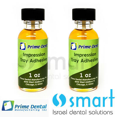 Lot x 2 impression tray adhesive prime dental USA 30 ml alginates liquid brush
