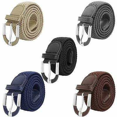 Falari Unisex Braided Elastic Stretch Belt Casual Weave Canvas Fabric Woven Belt