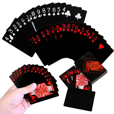 UK Waterproof Black Red Playing Cards PVC Poker Creative Durable Games Toys Gift