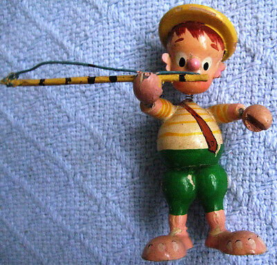 Vtge Signed Japan hand carved & Painetd wood boy w fishing pole Head,hands movin