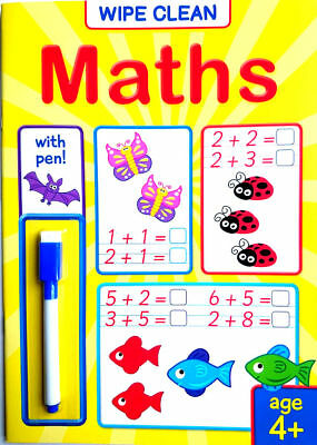NEW Wipe Clean MATHS Book with PEN Age 4+ Ready for School Learning 2019