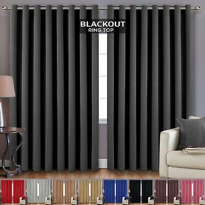 Extra Wide Long Ready Made Eyelet Ring Top Blackout Curtains Pair + Tie Backs