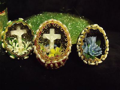 Set of (3) Charming 70's Vintage Hand Painted and Beaded Easter Eggs