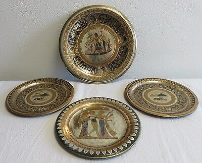 Egyptian Etched Decorative Mixed Metals Vintage Plates, Wall Hangings, Set of 4