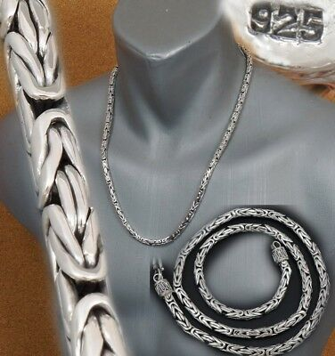 """5mm BALI BYZANTINE 925 STERLING SILVER MENS NECKLACE KING CHAIN 20 22 24 26 28"""""""