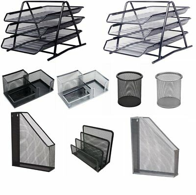 Metal Mesh A4 Document Tray Magazine Letter File Pencil Pen Cup Holder Storage