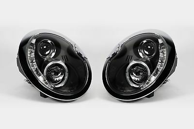 Mini Cooper One R51 01-06 Black LED DRL Angel Eyes Headlights Headlamps Set Pair