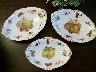 3 Hammersley Bone China Oval Floral Fruit Trinket Candy Gold Trim Dishes England