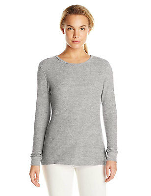 Fruit Of The Loom Women's Crew Neck Long Sleeve Thermal Top In Gray Size 2XL