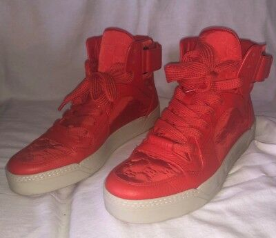 cf084f9c4 Gucci Men's Red Nylon Leather GG Guccissima High Top Sneakers Shoes-size 10G