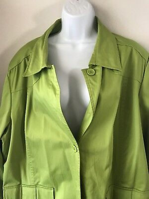 44c409c13b0 Jessica London Women s Plus Size Lime Green Trench Coat Rain Jacket Size 24W