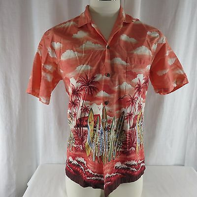 6a613690 Vtg M Kys Aloha Hawaiian Shirt Surfers Surf Boards Surfing Red Made In USA