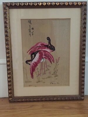 Original Painting/ Flamingos among Reeds - Signed and dated 1937