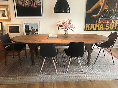 Solid Wood Large Dining Table Oval Shape Dark Brown Good