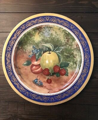 "Porcelaine T Limoges Dec a la main 12""  Plate Fruit Gold & Cobalt Blue Trim"