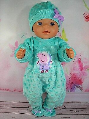 "Dolls clothes for 17"" Baby Born doll~MINT GREEN PEPPA PIG BOBBLE JUMPSUIT & HAT"
