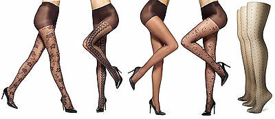 da0a61e99485d HUE GOTTA HAVE It Control Top Sheer Patterned Tights Size 4 Choose ...