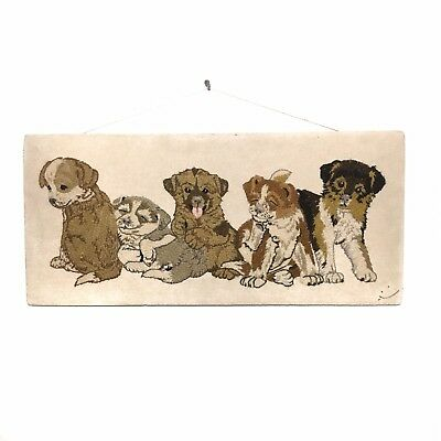 Vintage Crewel Puppy Wall Hanging