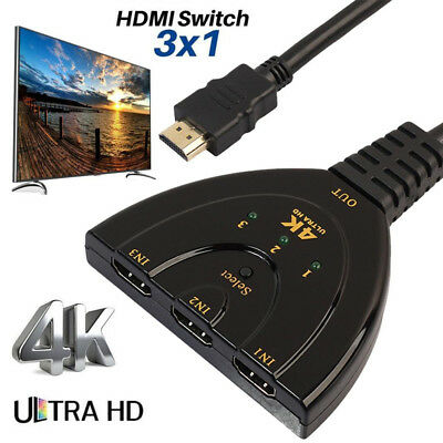 3 Ports HDMI Switch Splitter Cable 4K*2K 2160P Multi Switcher HUB with HDMI Cabl