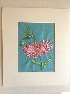 Pre-Owned Matted Embroidered Humming Bird & Flower