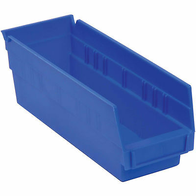 "Akro-Mils Plastic Shelf Bin Nestable, 6-5/8""W x 23-5/8""D x 4""H, Blue, Lot of 6"