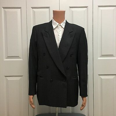 Men's Canali Proposta Nailhead Check Wool Double Breasted Blazer Suit Size 40 R