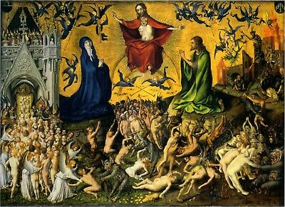 """Stefan Lochner """"The Last Judgement"""" circa 1435.  MUSEUM QUALITY Photography. NEW"""
