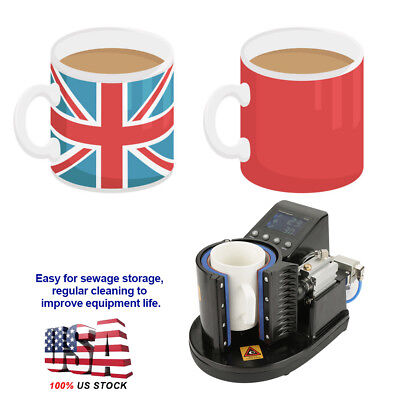 LCD Digital Transfer Sublimation Heat Press Machine for Coffee Cup Mug 11oz New
