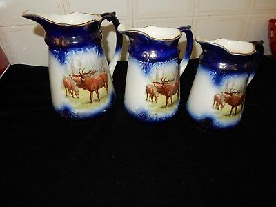 Antique Set Of 3 Jugs Over 100 Years Old. Elk And Roses On Side SPECTACULAR