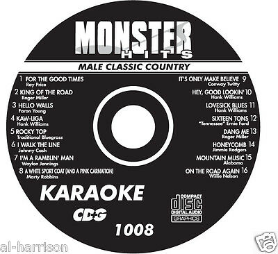 Karaoke Monster Hits Cd+G Male Classic Country  #1008