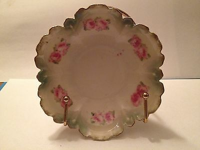 Vintage Porcelain Bowl with Roses and Ruffled Gold Trim
