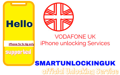 FAST Vodafone UK IPHONE 5 5s 6G  unlocking 5- business days