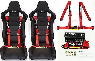 2X Tanaka Universal Red 4 Point Buckle Racing Seat Belt Harness Fits Polaris Utv