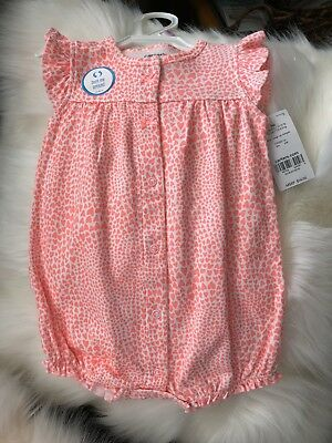 0ec7ccc26cec CARTER S Baby Girl White With Orange Hearts Snap-up Romper w  White Kitten  9m