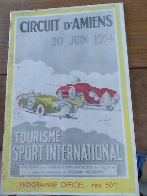programme circuit d'Amiens prix tourisme sport international 20/06/54 Douet